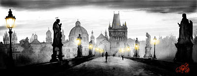 Black Charles Bridge  Art Print by Dmitry Koptevskiy