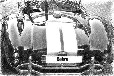 Black Cn Cobra Classic Car Sketch Art Print by Heiko Koehrer-Wagner