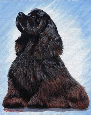 Cocker Spaniel Painting - Black Cocker Spaniel  by Olde Time  Mercantile