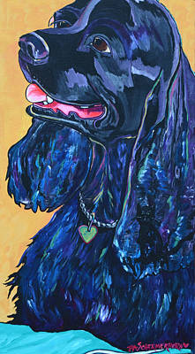 Cocker Spaniel Painting - Black Cocker Spaniel by Patti Schermerhorn