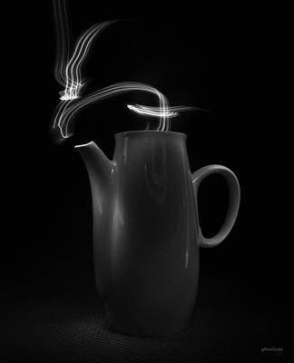 Art Print featuring the photograph Black Coffee Pot - Light Painting by Steven Milner