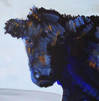 Black Cow Head Art Print