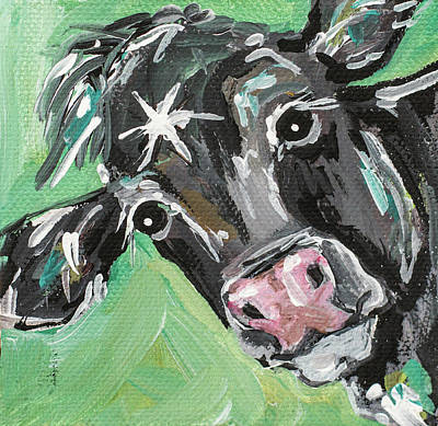 Moos Painting - Black Cow by Molly Susan Strong