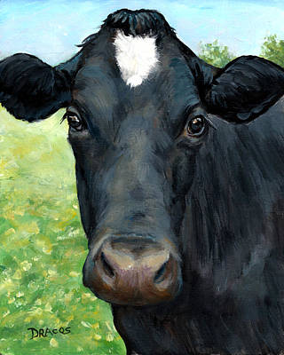 Black Cow With Star Art Print