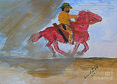 Painting - Black Cowboy Forgotten In America by Richard W Linford