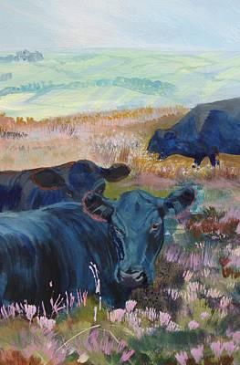 Black Cows On Dartmoor Art Print by Mike Jory