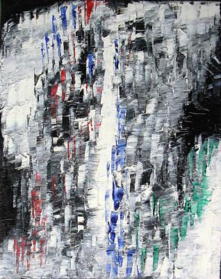 Black Crystal Cave - Black White Abstract By Chakramoon Art Print by Belinda Capol