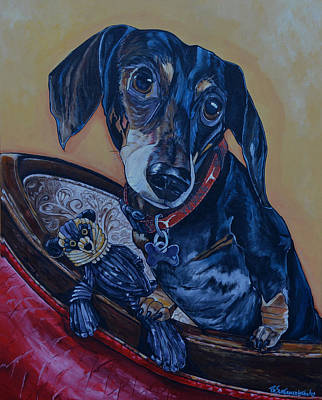 Painting - Black Dachshund by Patti Schermerhorn
