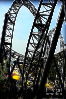 Cyclone Rollercoaster Photograph - Roller Coaster Art by Doc Braham