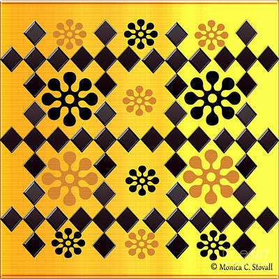 Digital Art - Black Diamonds And Flowers Design by Monica C Stovall