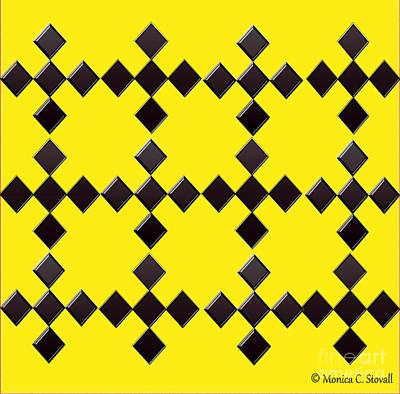 Digital Art - Black Diamonds On Bright Yellow Design by Monica C Stovall