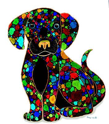 Puppy Digital Art - Black Dog 2 by Nick Gustafson