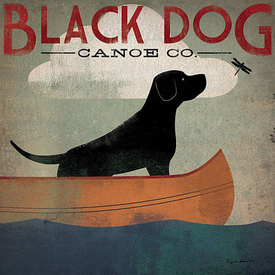 Canoes Painting - Black Dog Canoe by Ryan Fowler