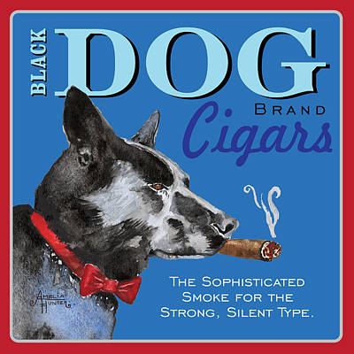 Pointy Ears Painting - Black Dog Cigars by Amelia Hunter