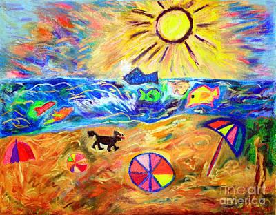 Black Dog On Brighton Beach Art Print by Debbie Davidsohn