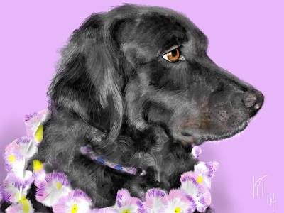 Black Dog Pretty In Lavender Print by Lois Ivancin Tavaf