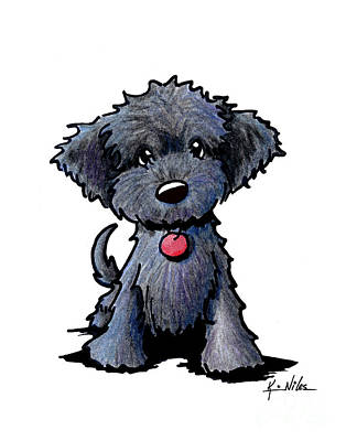 Black Doodle Puppy Art Print by Kim Niles
