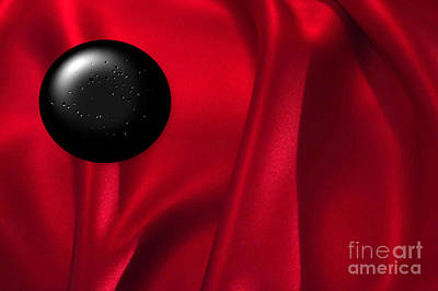 Installation Art Photograph - Black Dot On Red Silk by Tina M Wenger