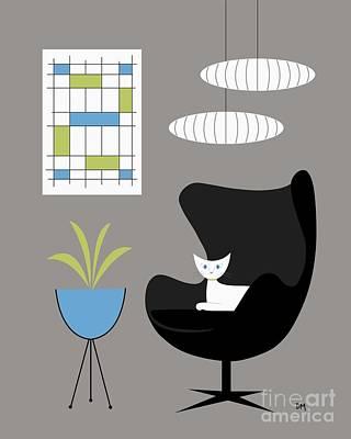 Planters Digital Art - Black Egg Chair by Donna Mibus
