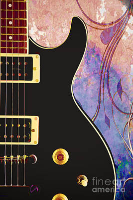 Painting - Black Electric Guitar Painting 3323.02 by M K  Miller