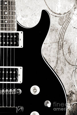 Photograph - Black Electric Guitar Photograph In Sepia Print 3324.01 by M K  Miller