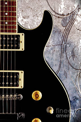 Photograph - Black Electric Guitar Photograph On Fine Art Color 3324.02 by M K  Miller