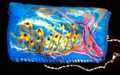 Mixed Media - Black-eye Susan Needle Felted Purse by Shelley Bain