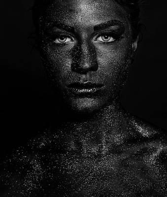 Lips Photograph - Black Face by Sajedah Al-asfoor