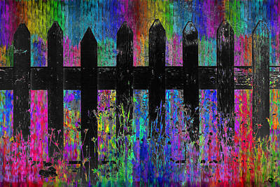 Picket Mixed Media - Black Fence 2 by Tony Rubino