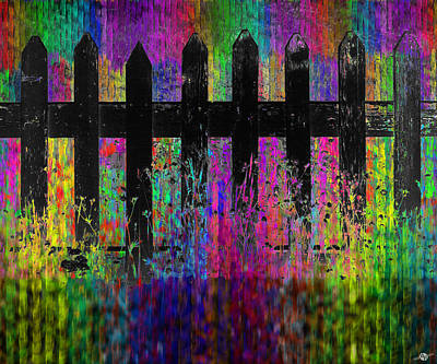 Picket Mixed Media - Black Fence Large by Tony Rubino