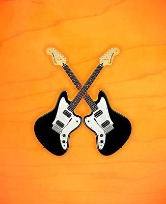 Black Fender Jaguar  Guitar Art Print by Doron Mafdoos