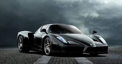 Cylinders Digital Art - Black Ferrari by Peter Chilelli
