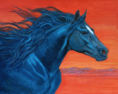 Midnight Run Painting - Black Fire by Nancy L Baker