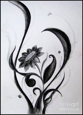 Smear Drawing - Black Flowers Abstract Charcoal Art by Prajakta P