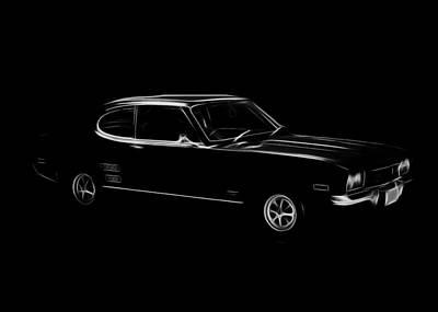 Black Ford Capri Print by Steve K