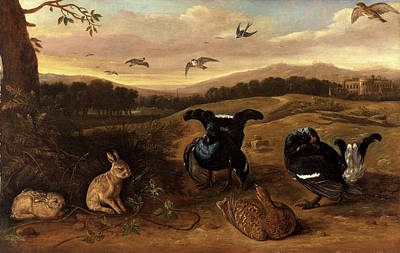 Swallow Painting - Black Game, Rabbits, And Swallows In A Park Black Game by Litz Collection