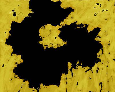 Digital Art - Black Gold - Abstract -art  by Ann Powell