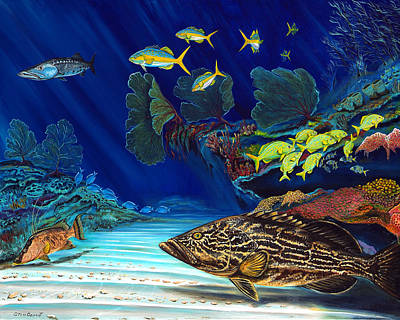 Painting - Black Grouper Reef by Steve Ozment