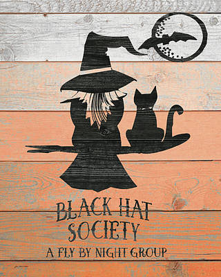 Halloween Sign Painting - Black Hat Society by Jo Moulton