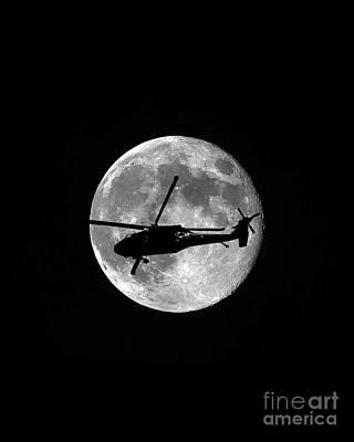 Black Hawk Moon Vertical Art Print