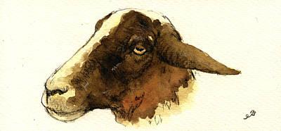 Sheep Painting - Black Head Sheep by Juan  Bosco