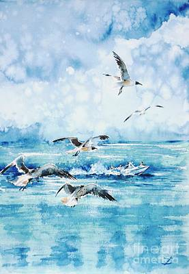 Painting - Black-headed Seagulls At Seven Seas Beach  by Zaira Dzhaubaeva