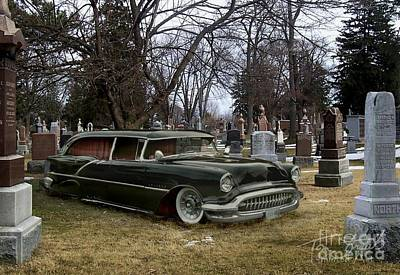 Black Hearse Art Print by Tom Straub