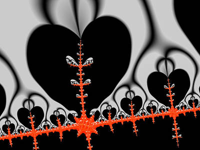 Modern Fractal Art Photograph - Black Hearts Red Fractal by Matthias Hauser