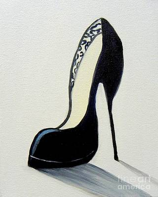 Painting - Black High Heel Shoe by Shelia Kempf