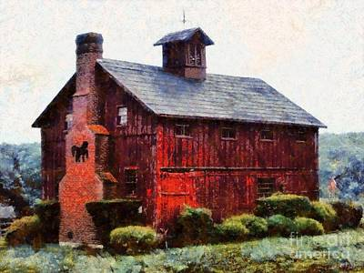 Black Horse Chimney Barn Art Print by Janine Riley