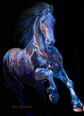 Black Horse In Black Art Print by J- J- Espinoza