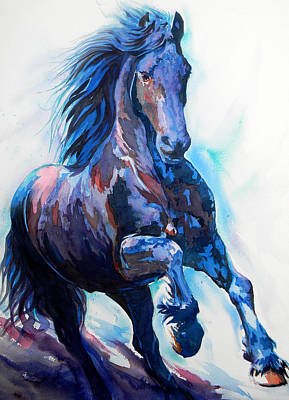 Turquoise Drawing - Black Horse by J- J- Espinoza