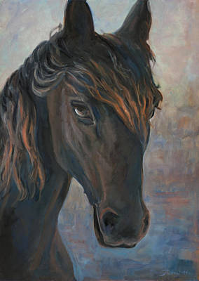 Black Horse Art Print by Marco Busoni
