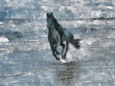 Art Print featuring the painting Black Horse Running On The Beach by Georgi Dimitrov